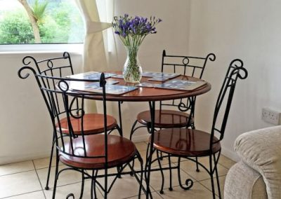 Dining table at Petit Tor, isle of wight self catering accommodation