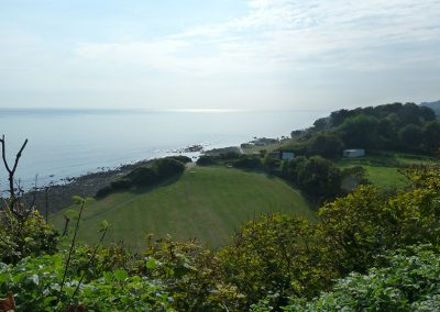 Coastal path to Ventnor looking over Flower Brook, from Petit Tor