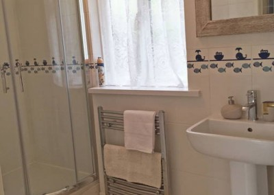 Heated towel rail, basin and wc